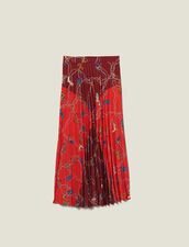 Printed Long Skirt With Pleats : Skirts color Red