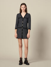 Short Tweed Coat Dress : Dresses color Navy Blue