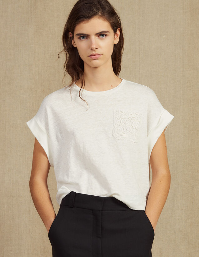 Cropped Linen T-Shirt : Tops & Shirts color Ecru