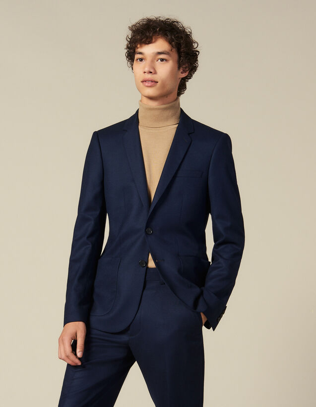 Wool suit jacket : Suits & Blazers color Navy Blue