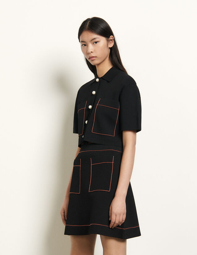 Short knitted skirt : Spring Pre-Collection color Black