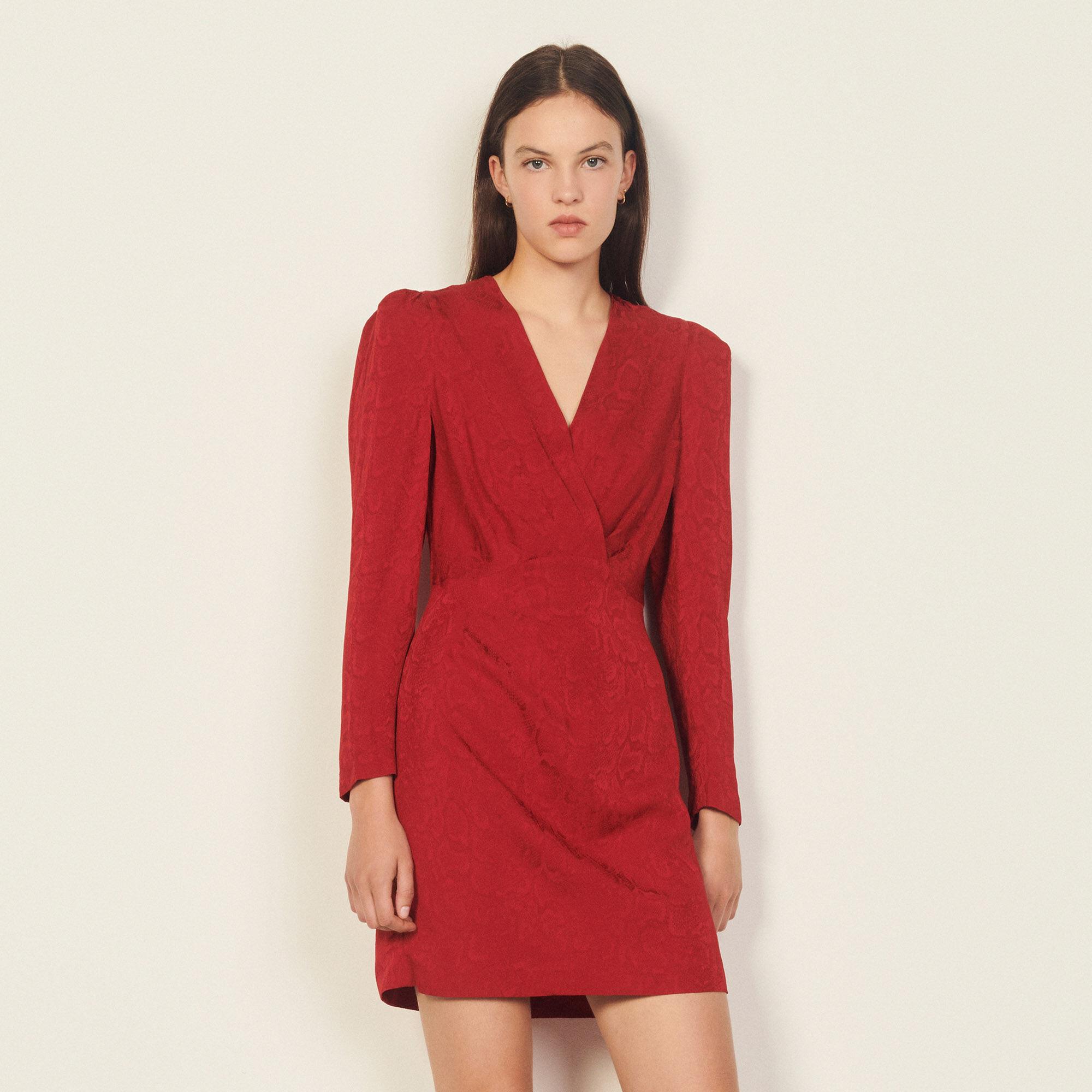 Sandro Short python-effect jacquard dress