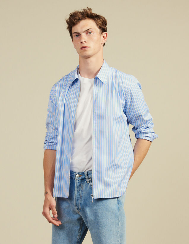 Striped Zipped Shirt : Shirts color Blue