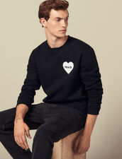 Cotton sweater with PEACE patch : Sweatshirts color Black