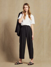Matching Striped Pants With Darts : Pants & Shorts color Black