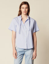 Short-Sleeved Poplin Shirt : Tops & Shirts color Blue