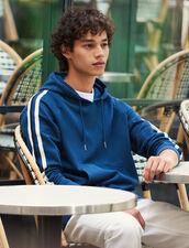Hoodie With Striped Braid Trims : Sweatshirts color Blue