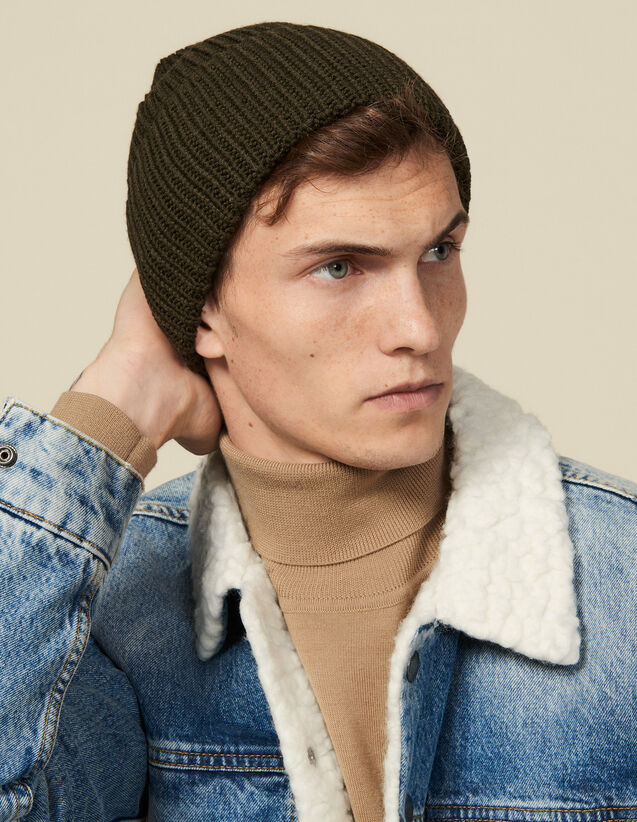 Beanie with turn-up cuff : Hats color Olive Green