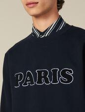 Sweatshirt with bouclé fleece lettering : Sweatshirts color Navy Blue