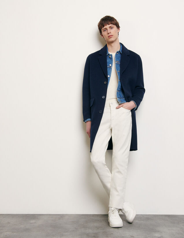 Double-sided wool coat : Spring Pre-Collection color Navy Blue