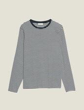 Long-Sleeved Breton T-Shirt : T-shirts & Polos color Navy/White