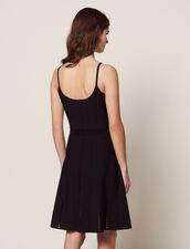 Short Knit Dress With Straps : Dresses color Black