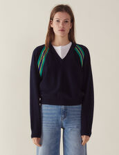 Long-Sleeved Sweater With Braid Trim : Sweaters color Navy Blue