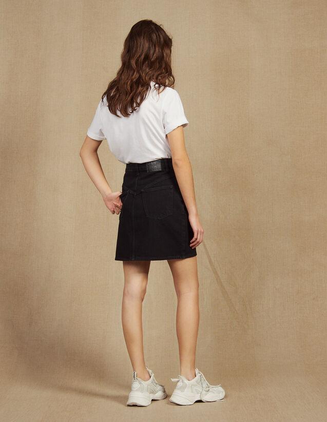 Short Denim Skirt : Skirts color Black