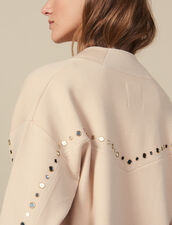 Cardigan trimmed with studs : Sweaters & Cardigans color Nude