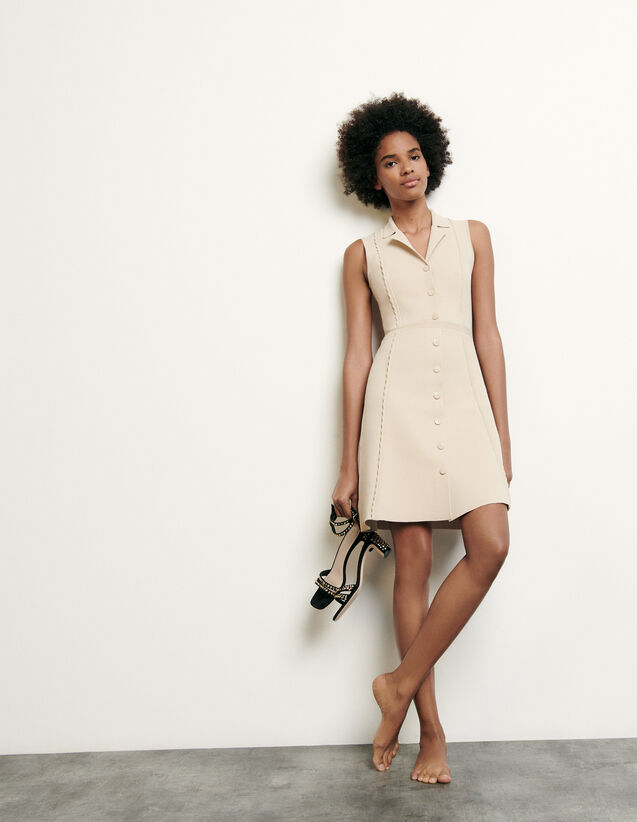 Short knitted dress with tailored collar : Spring Pre-Collection color Beige