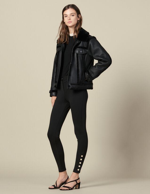 Leggings With Press Studs : Pants & Shorts color Black