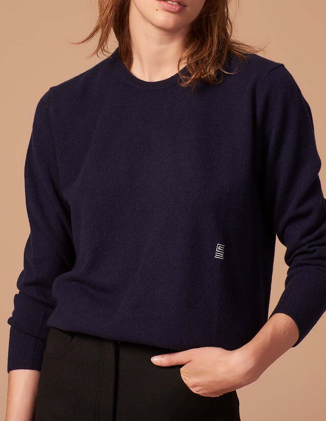 357a72b0af Cashmere sweater with embroidered logo   Sweaters color Camel