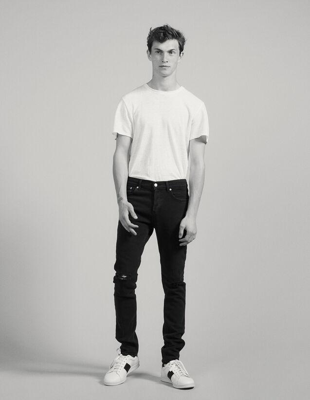 Black Destroy Jeans - Skinny Cut : Jeans color Black