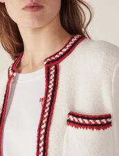 Cardigan With Three-Colored Braid Trim : Sweaters color Ecru
