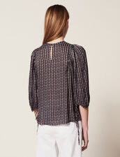 Printed Blouse With 3/4 Length Sleeves : Tops & Shirts color Black