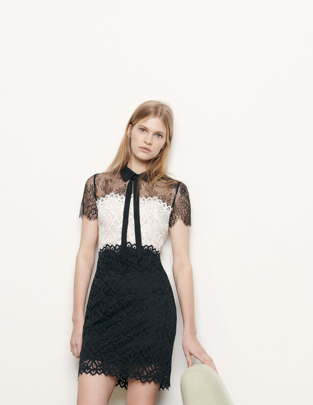 Two-tone lace dress : Spring Pre-Collection color Ecru