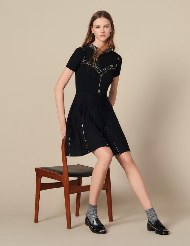 Short Knit Dress Trimmed With Studs : Dresses color Black