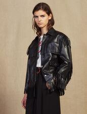 Fringed Leather Jacket : Coats & Jackets color Black