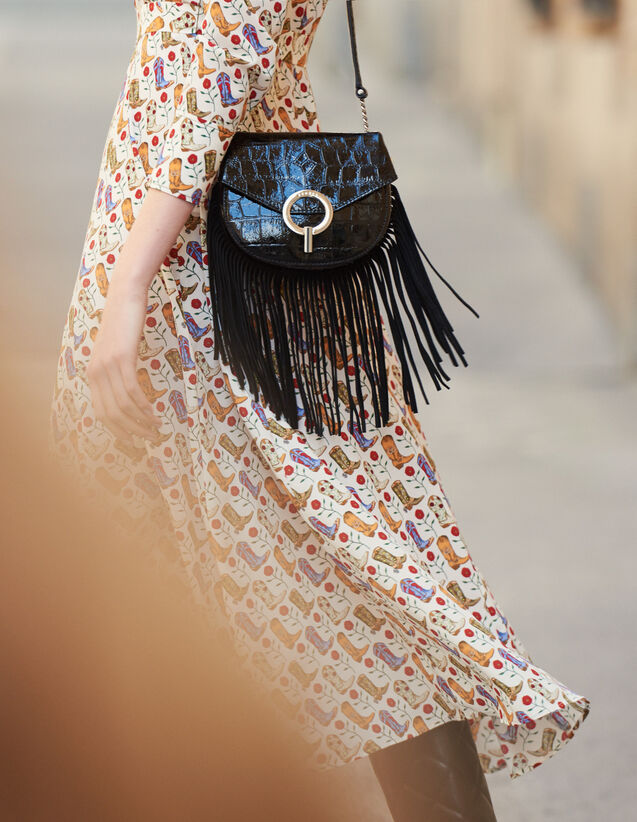 Fringed Pépita Bag, Small Model : Bags color Black