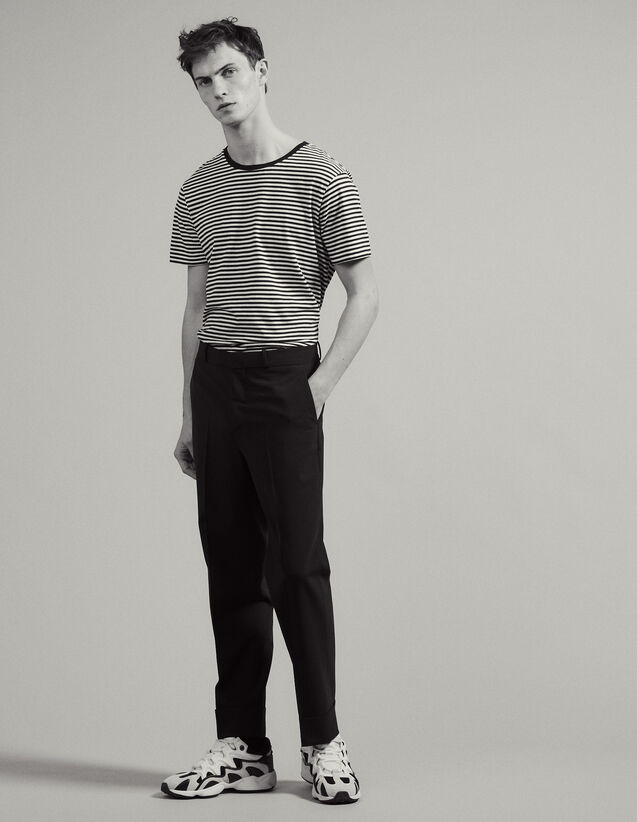 Carrot-Cut Trousers With Turn-Ups : Pants & Jeans color Navy Blue
