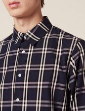 Long-Sleeved Tartan Shirt : Shirts color Navy Blue