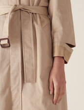 Long Trench-Style Coat : Coats & Jackets color Beige