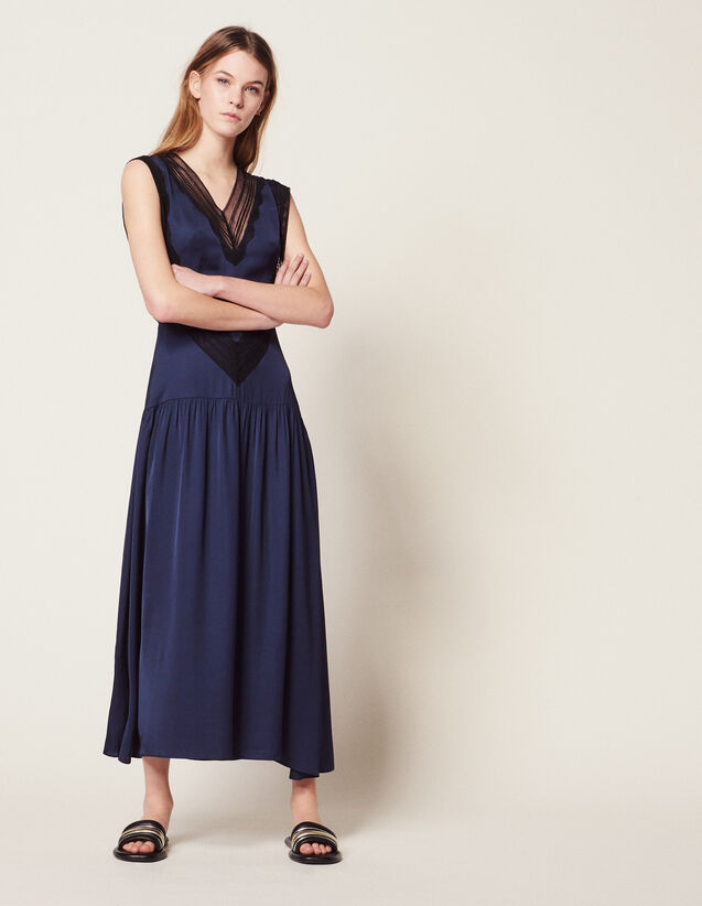 Long Floaty Dress : Dresses color Navy Blue