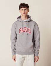 Hoodie With Patch Lettering : Sweatshirts color Mocked Grey