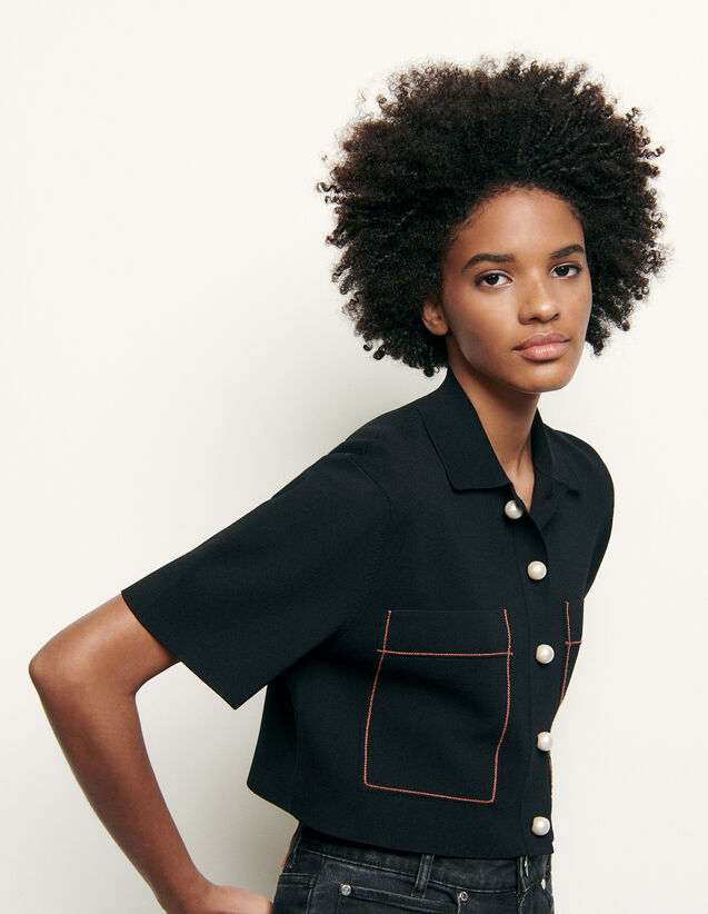 Shirt-style cropped cardigan : Spring Pre-Collection color Black