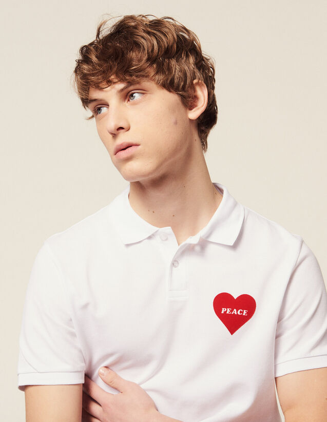 Cotton Piqué Polo Shirt, Flocked Heart : T-shirts & Polos color white