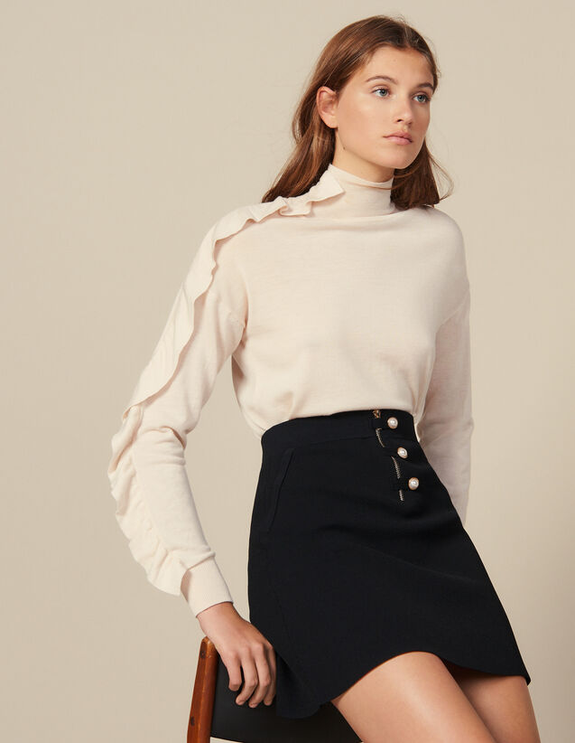 Short A-line knit skirt : Skirts color Black