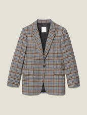 Checked wool blazer : Jackets color Grey