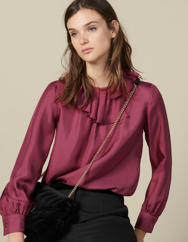 Silk Top With Small Asymmetric Collar : Tops & Shirts color Fuchsia