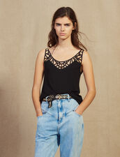 Vest Top With Front Panel : Tops & Shirts color Black