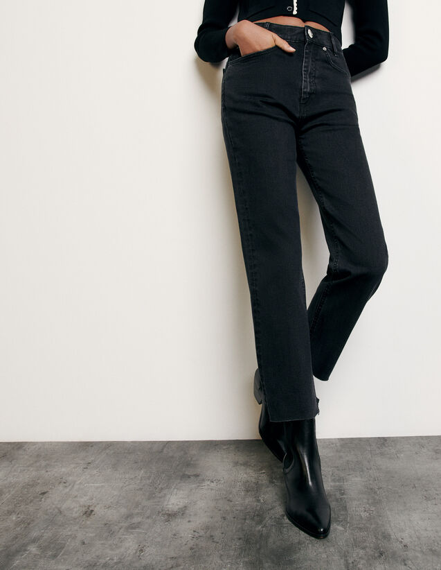 Straight-cut jeans with raw edges : Spring Pre-Collection color Black