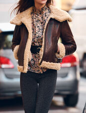 Shearling Lined Leather Jacket : Fall Collection color black brown