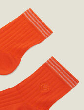 Embroidered Cotton Socks : Sale color Orange
