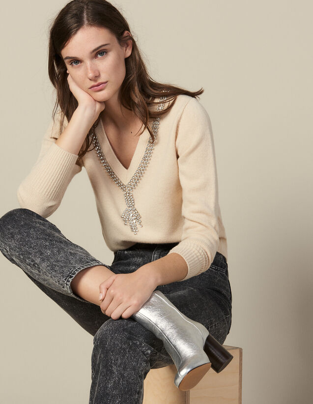 Sweater With Jewel-Trimmed Neck : Sweaters & Cardigans color Beige