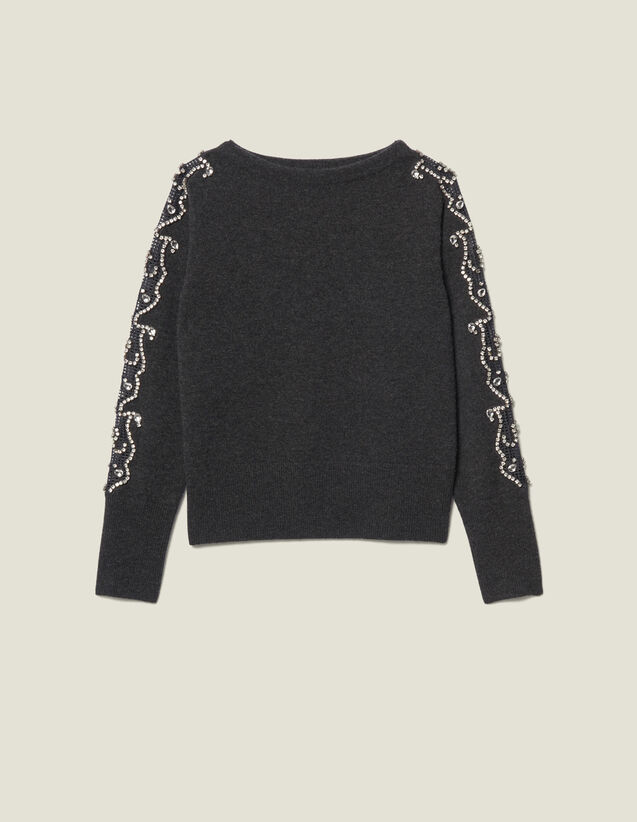 Sweater With Rhinestones And Boat Neck : Sweaters color Charcoal Grey