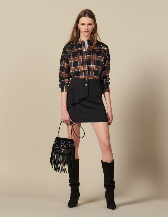 Short Skirt With Asymmetric Ruffle : Skirts color Black