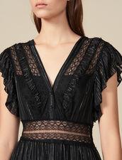 Long Lurex Silk Dress : Dresses color Black