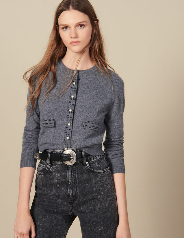Cardigan With Contrasting Topstitching : Sweaters color Grey