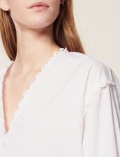Long-Sleeved Cotton Top : Tops & Shirts color white