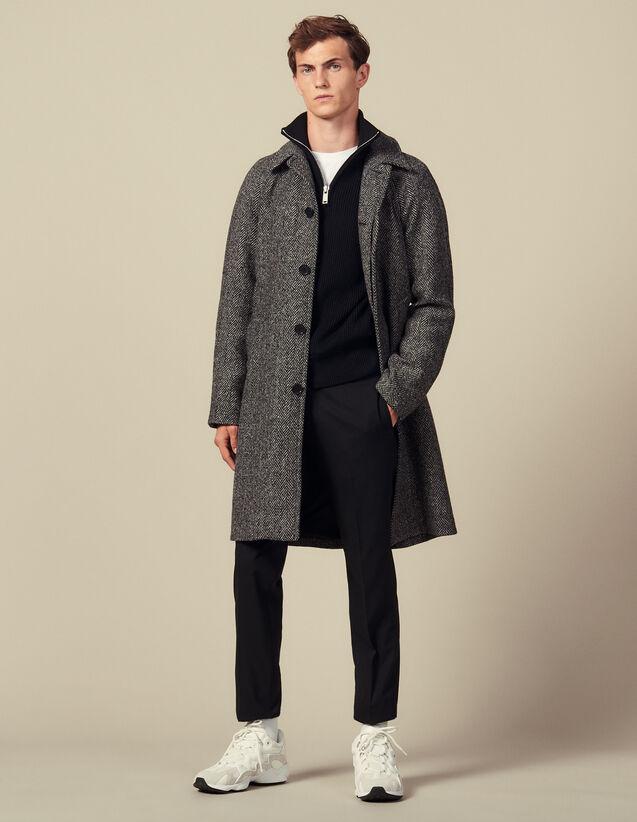 Coat With Belt : Coats color Noir/Gris